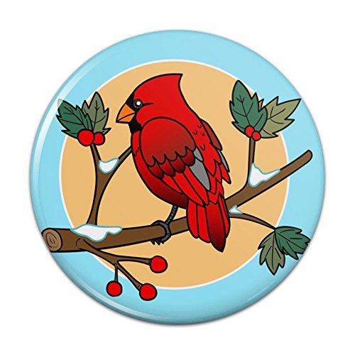 Red Cardinal on Snowy Holly Branch Compact Pocket Purse Hand Cosmetic Makeup Mirror - 3