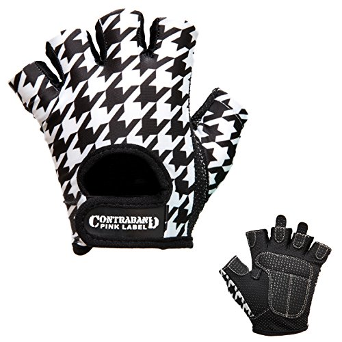 Contraband Pink Label 5257 Womens Design Series Houndstooth Print Lifting Gloves (Pair) - Lightweight Vegan Medium Padded Microfiber Amara Leather w/Griplock Silicone (White/Black, Medium)
