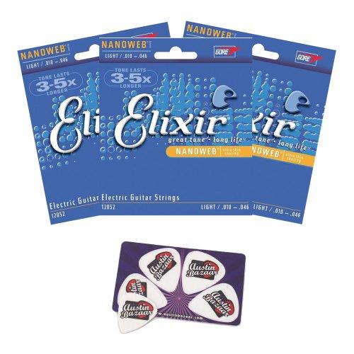 Elixir Strings Electric Guitar Strings, 6-String, Light Nanoweb Coating - 3 Pack with Picks