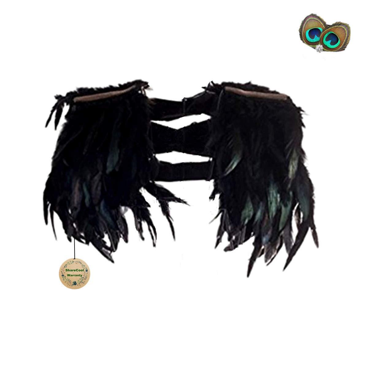 Mode-Feder-Kap-Stola Schwarz Schal Scapular Irisierende Epaulet f/ür Fringe Abendkleid Coque Typ 1