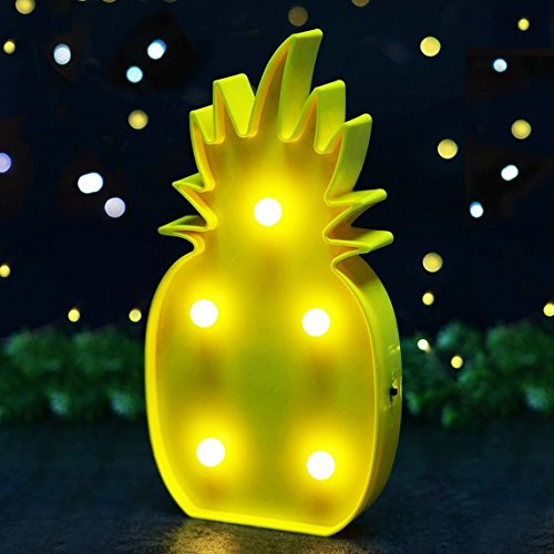 QiaoFei Light Up Pineapple Decor Light,3D Tropical Pineapple LED Lamp,Romantic Night Table Lamp Holiday Home Christmas Party Table Decorations,Light Decor for Kids Baby Adults Bedroom,living room. by QiaoFei