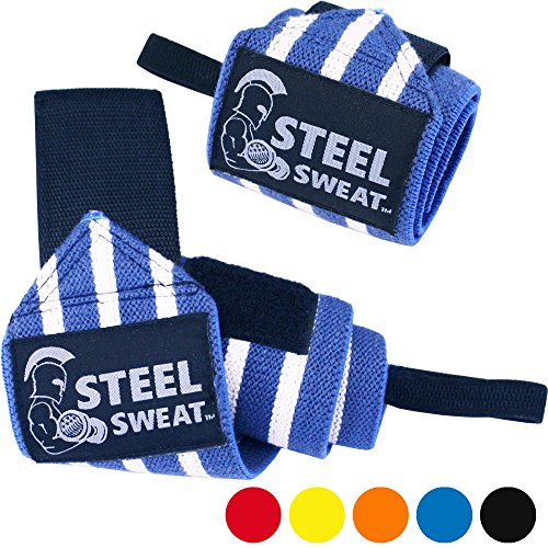 Wrist Wraps by Steel Sweat - Best for Weight Lifting, Powerlifting, Gym and CrossFit Training - Heavy Duty Support in Sizes 18