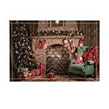 NYMB Living Room Decor, Fireplace with Christmas Tree and Green Chair with Red Plaid Bath Rugs, Non-Slip Doormat Floor Entryways Indoor Front Door Mat, Kids Bath Mat, 15.7x23.6in, Bathroom Accessories