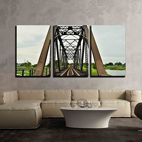 (wall26 - 3 Piece Canvas Wall Art - a Train Crossing The Bridge,Thailand - Modern Home Decor Stretched and Framed Ready to Hang - 16