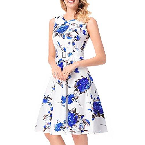 1aaff852930f Kleid damen Kolylong®Frauen Elegant Kleid Blumenmuster Vintage Ärmelloses  Kleid mit gürtel Festlich Swing Kleider