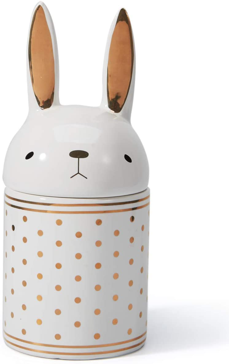 Amoy-Art Tarro de Galletas Plato de Dulces Cubierta de Conejo Decorativas para el Hogar Regalos Souvenirs Fácil Lavado 20cmH