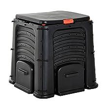 Outsunny 106 Gallon (400L) Soil Saver Compost Bin Garden Organic Waste Converter Black