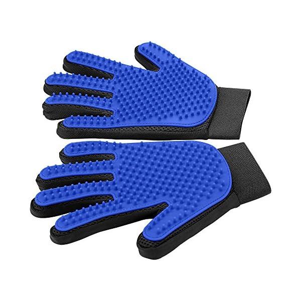 [Upgrade Version] Pet Grooming Glove – Gentle Deshedding Brush Glove – Efficient Pet Hair Remover Mitt – Enhanced Five Finger Design – Perfect for Dog & Cat with Long & Short Fur – 1 Pair