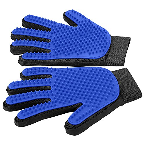 [Upgrade Version] Pet Grooming Glove - Gentle Deshedding Brush Glove - Efficient Pet Hair Remover Mitt - Enhanced Five Finger Design - Perfect for Dog & Cat with Long & Short Fur - 1 Pair (Blue) from DELOMO