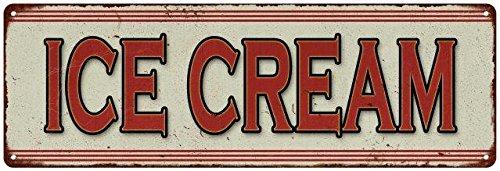 Ice Cream Restaurant Diner Food Menu Vintage Look Metal Sign 6x18 Old Advertising Man Cave Game Room - Vintage Cream Ice Signs