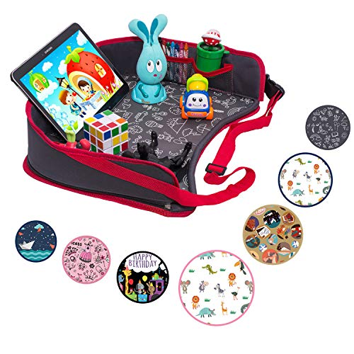 DMoose Kids Travel Activity Tray - Non-Flimsy, Tablet Holder, Strong Buckles, Sturdy Side Walls & Padded Base - Waterproof Snack, Play, Learn & Organize Lap Desk for Car Seats, Strollers - Folding Activity Non