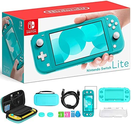 """Newest Nintendo Switch Lite, Turquoise Game Console, 5.5"""" 1280x720 Touchscreen Display, Built-in Control Pad, 802.11ac WiFi, Speakers, 3.5mm Audio Jack, with TSBEAU 6-in-1 Carrying Case Bundle"""