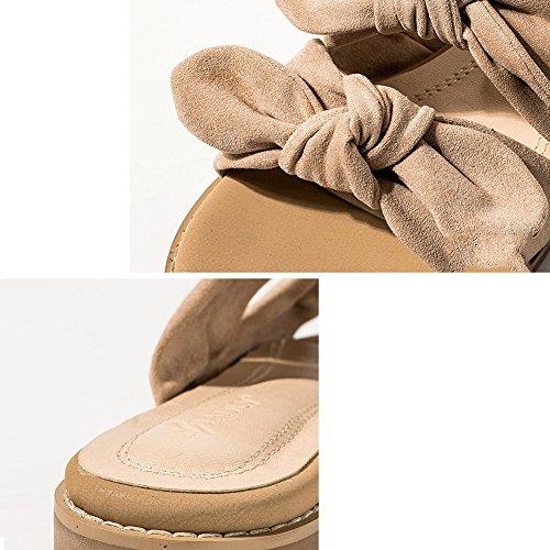 EU38 Shoes 240 Color Height Flat Beige Summer Size 2CM Beach Loafer PENGFEI Outside Wear 2 US7 Heel Female Tie Slippers Colors Bow Beige Bottom 5 UK5 qRAnzWSfw