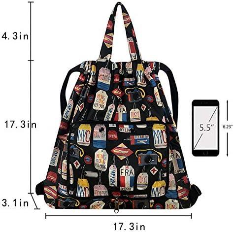 ZLMBAGUS Women Patterned Backpack Totes Shoulder Handbag Purse Foldable Drawstring Gym Bag Pattern-04