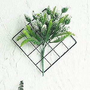 JHion Artificial Hanging Plants Black Metal Grid Panel Decor,Home Décor Modern Art Crafts Indoor Outdoor Garden Wall Wedding Party Decorations 82
