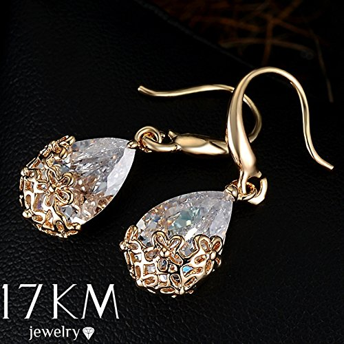 Wyhui Silver Gold Colors Wedding Crystal Zircon Dangle Earring For Women's 18K Gold Designer Elegant Classic Flowers Jewelry Accessories For Girl Gold one size