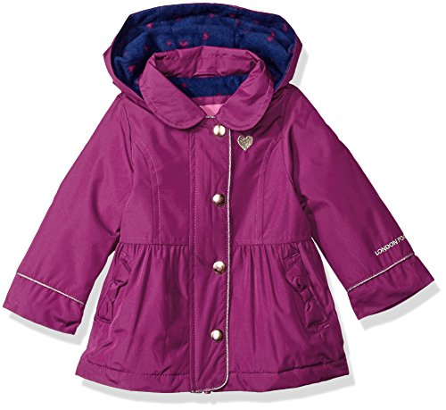 London Fog Baby Girls Fleece Lined Trench Coat Raincoat, Violet/Navy, 24M