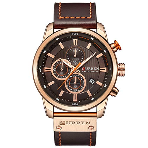 Mens Luxury Analog Quartz Watch Date Fashion Business Chronograph Dress Waterproof Leather Watch Black Dial