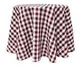 Ultimate Textile (10 Pack) 126-Inch Round Polyester Gingham Checkered Tablecloth - for Picnic, Outdoor or Indoor Party use, Burgundy and White