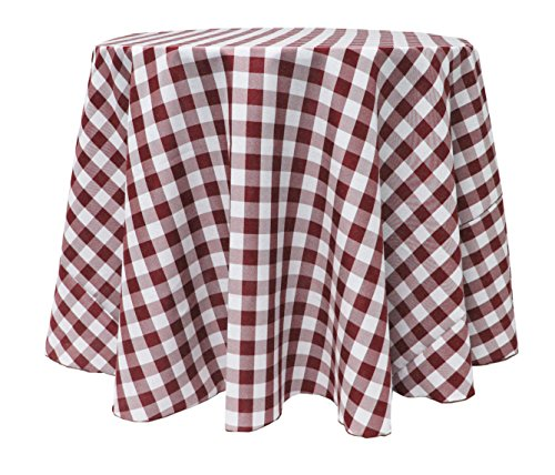 Ultimate Textile 60-Inch Round Polyester Checkered Tablecloth Burgundy and (Burgundy Gingham)