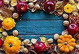 OFILA Autumn Backdrop 7x5ft Harvest Party Photography Background Autumn Pumpkins Apples Walnuts Thanksgiving Day Party Decoration Wood Photos Autumn Festival Celebration Activity Video Props