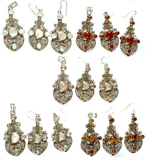 Lot of Five Gemstone Pendants with Earrings Set (Shell, Carnelian, Rose Quartz, Rainbow Moonstone an