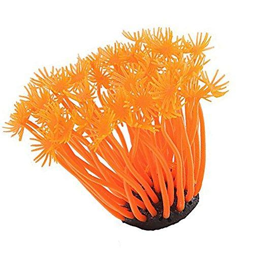 LDEXIN Silicone Aquarium Fish Tank Artificial Coral Underwater Plant Sea Aquarium Sea Plant Orange for Fish Tank, Decorative Aquarium Ornament