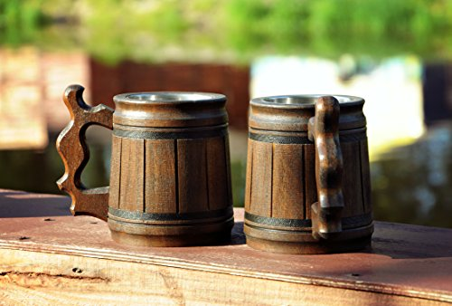 Handmade Beer Mug Oak Wood Stainless Steel Cup Gift Natural Eco-Friendly Wooden Tankard 0.3L 10oz Classic Brown (Set of 6 Mugs) by MyFancyCraft (Image #5)