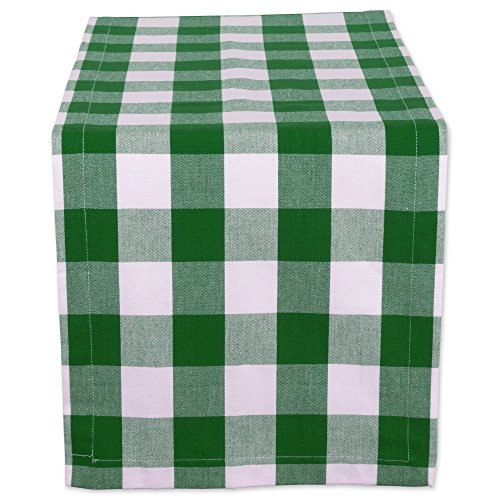 "DII Cotton Buffalo Check Table Runner for Family Dinners or Gatherings, Indoor or Outdoor Parties, & Everyday Use (14x72"",  Seats 4-6 People), Green & White"