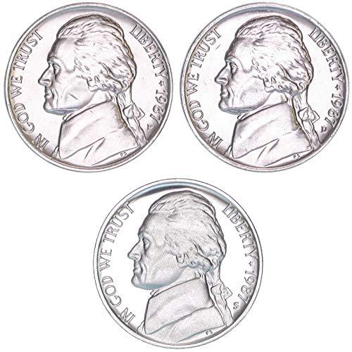 1987 P D S Jefferson Nickel Year Set BU & Gem Proof 3 ()