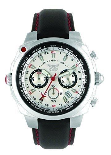 Aviator AVW7768G68 - Reloj para Hombres, Correa de Cuero Color Negro: Amazon.es: Relojes