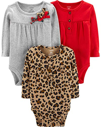 Baby Bib Holiday - Carter's Unisex Baby Long-Sleeve Bodysuits (6 Months, 3 Pack Holiday)