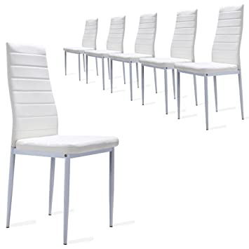 6 Stück Esszimmerstühle, Küchenstühle Mit Hochwertigem Kunstlederpolster   ( Weiß)