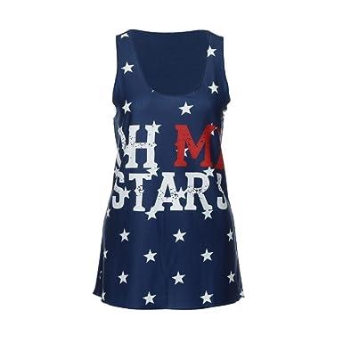 Mujeres Tops Rovinci Verano Camisa sin Mangas con Estampado de Estrellas y Estampado de Estrellas de