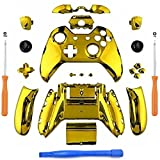Cheap YB-OSANA Replacement Chrome Gold Controller Full Housing Shell Faceplates Bumpers Buttons for Xbox One Controller with 3.5 mm Jack Xbox one controller Shell with 3.5 port Xbox One Full Button Set