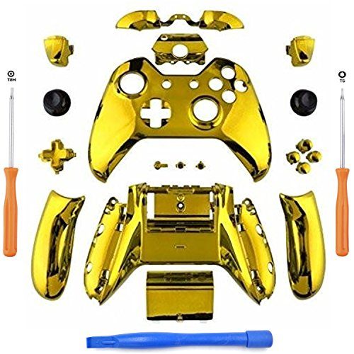 YB-OSANA Replacement Chrome Gold Controller Full Housing Shell Faceplates Bumpers Buttons for Xbox One Controller with 3.5 mm Jack Xbox one controller Shell with 3.5 port Xbox One Full Button Set