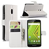 Premium Leather Wallet Case Cover with Stand Card Holder for Motorola Moto X Play (2015) Phone (Wallet - White)