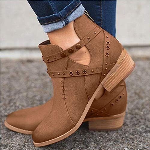 Courte Talons Marron Bottillons Simples Carrés Unie Couleur Rivets Glissière Chaussures Femmes À Creux Botte Manadlian 1zwgqZg