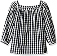 LOOK by Crewcuts Girls' 3/4 Sleeve Square Neck Top, Gingham, XX-Large