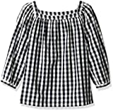 LOOK by Crewcuts Girls' 3/4 Sleeve Square Neck Top, Gingham, XX-Large (14)