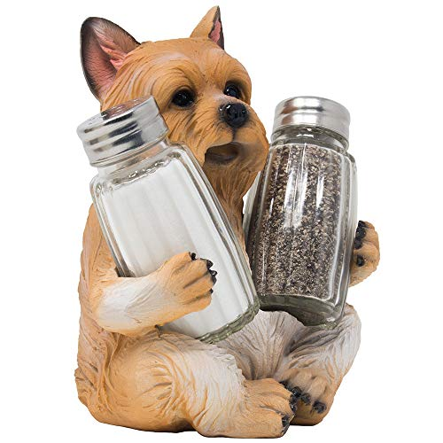 (Cute Yorkie Puppy Dog Glass Salt and Pepper Shaker Set on Decorative Display Stand Holder Figurine for Yorkshire Terrier Kitchen Décor Spice Rack Decorations As Table Centerpieces or Fun Pet Gifts)