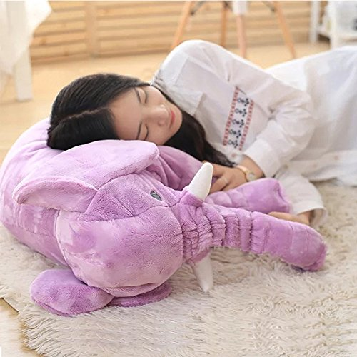 23.6inch/60cm Big Stuffed Animals Plush Toys Toy Pillows Throw Pillows Cute Elephant Pillow Birthday Gift For Everyone-Purple (Purple Elephant Stuffed Animal)