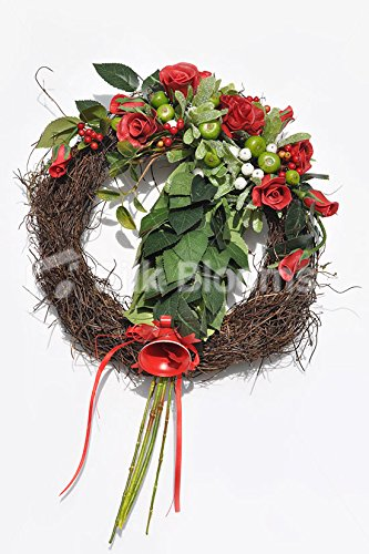 Grandiose Red Roses Apples Real Dried Christmas Wreath w/ Bell