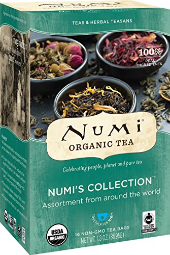 Numi Organic Tea Numi's Collection Variety Pack, 16 Count Box of Tea Bags - Black, Green, White, Pu-erh, Mate, Chai, Rooibos & Herbal Teas (Packaging May -