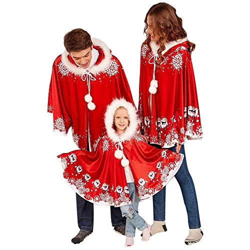 Women's Christmas Halloween Costumes Cloak Mom&Me Santa Claus Cardigan Red Velvet Hooded Cape Xmas Party Costume Robe Wrap (Adult Santa) ()