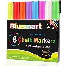 Chalk markers, Blusmart 8pcs Liquid Chalk Pens 3mm Reversible tips 40 Chalkboard Labels Perfect for Chalkboards, Windows, Glass,Whiteboard