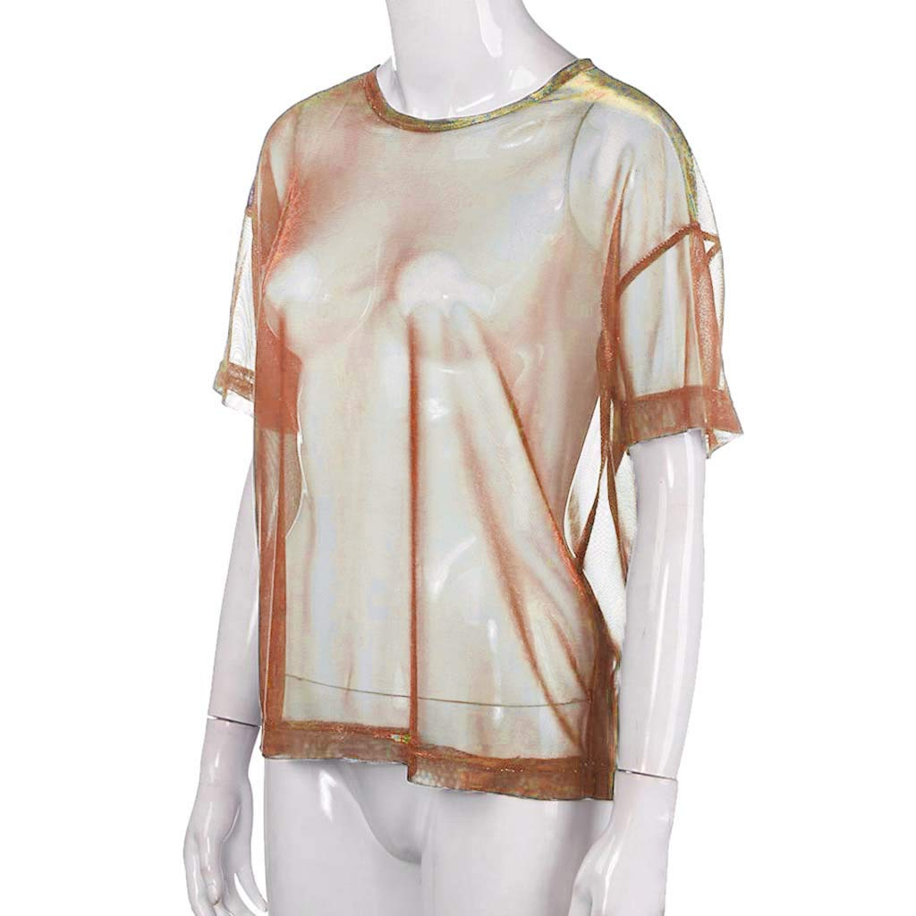 Randolly Womens Tops,Ladies Fashion Hollow Transparent Round Neck Short Sleeve T-Shirt Top Blouse