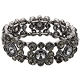EVER FAITH Black-Tone Round Austrian Crystal Vintage Style Elastic Stretch Bracelet Black