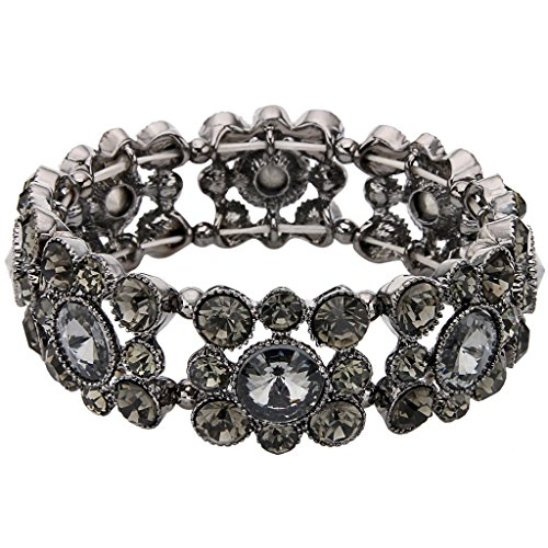 Austrian Crystal Stretch Bracelet (EVER FAITH Black-Tone Round Austrian Crystal Vintage Style Elastic Stretch Bracelet Black)