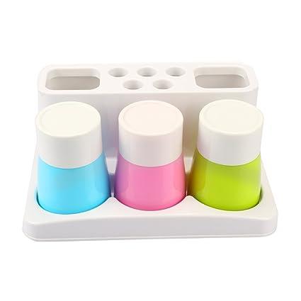 egoera Juego de cepillo de dientes pasta de dientes titular organizador soporte almacenamiento 3 pcs tazas